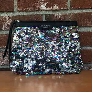 Victoria's Secret Faux Leather Sequin Cosmetic Bag